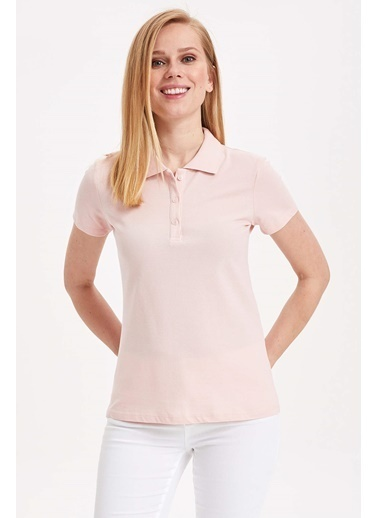 DeFacto Basic Polo T-shirt Pembe